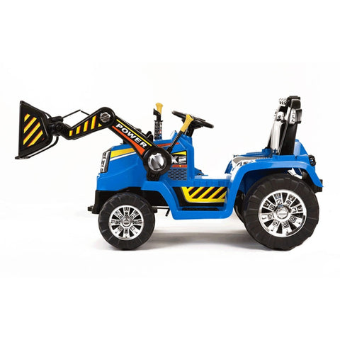 Blue Twin Motor Tractor - 12V Kids Electric Ride On Tractor