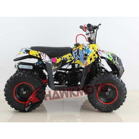 Hawkmoto Mini Explorer 49cc Kids Quad Bike - Sticker Bomb 3