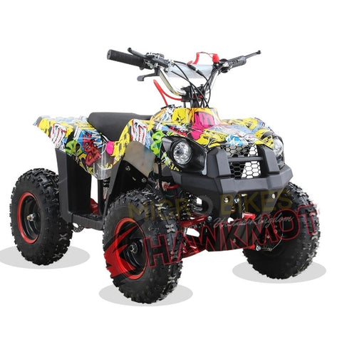 Hawkmoto Mini Explorer 49cc Kids Quad Bike - Sticker Bomb