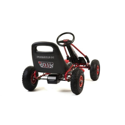 Kids Rubber Wheel Red and Black Go Kart 3