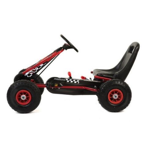 Kids Rubber Wheel Red and Black Go Kart 2