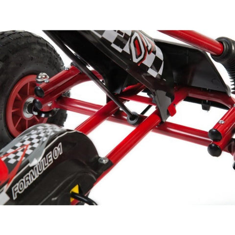 Kids Rubber Wheel Red and Black Go Kart 4