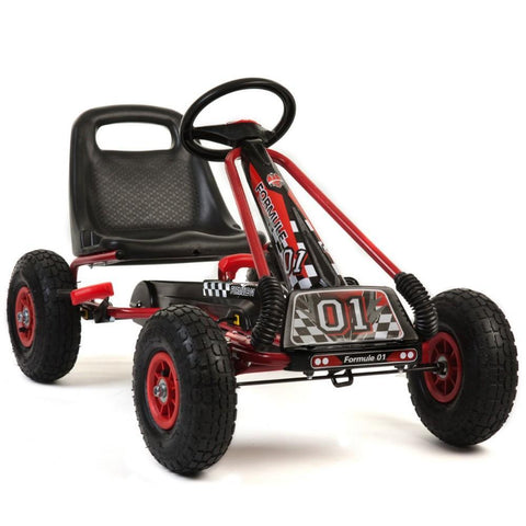 Kids Rubber Wheel Red and Black Go Kart