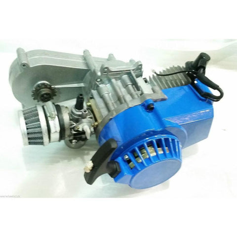 Complete Engine with Transfer Box Blue Pull Start for 50cc Dirt Bike