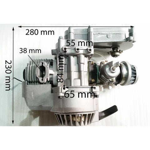 Complete Engine with Transfer Box Silver Pull Start for 50cc Dirt Bike/Mini Moto 2