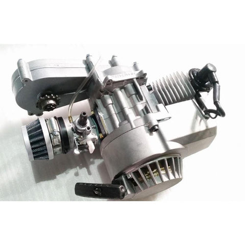 Complete Engine with Transfer Box Silver Pull Start for 50cc Dirt Bike/Mini Moto