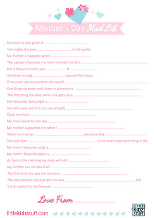 Mother's Day Mad Libs Printable PDF