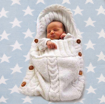Baby Wool Swaddle Wrap - Warm Crochet Knitted Newborn Sleeping Bag Weekend Offer