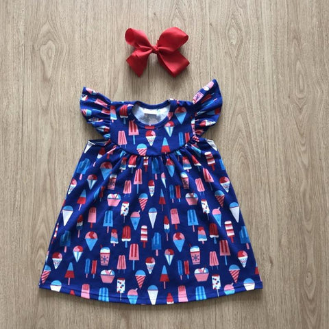 NEW 2018 4th of July Ice Cream Dress With A Matching Head Bow