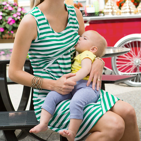 Striped Breastfeeding Dress - Nursing Maternity Dress