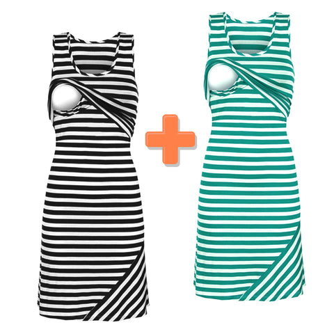 Striped Breastfeeding Dress - Nursing Maternity Dress - SPECIAL OFFER 1+1