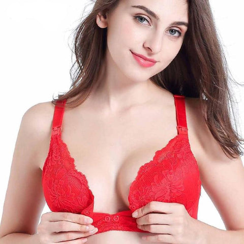 Lace Maternity Nursing Bra - Plus Size Cotton Breastfeeding Wire-Free Bra