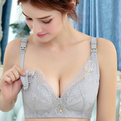 Wire Free Nursing Push Up Bra - Lace Plus Size Maternity Breastfeeding Bra