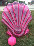 Pink Pearl Shell Pool Float With Two Cup Holder - Pink Ball Gratis