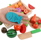 Wooden Kitchen Toys Set - Cutting Fruit and Vegetable Toys