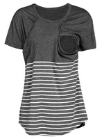Short Sleeve Striped Breastfeeding Top