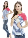 Striped Summer Breastfeeding Top - Casual Double Chest T-shirt