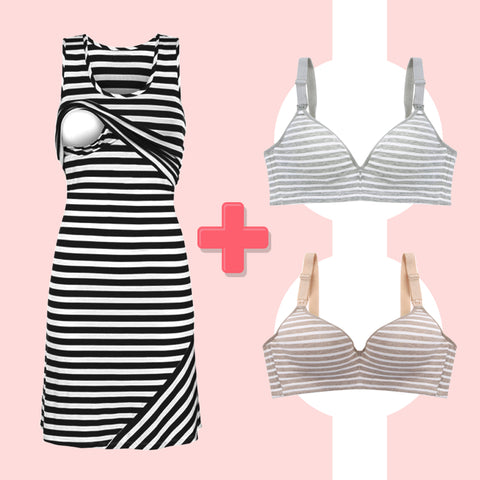 SPECIAL OFFER - Striped Breastfeeding Dress + TWO Breastfeeding Bras