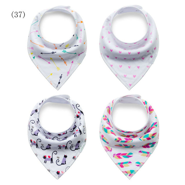 4PC Set Cotton Designer Print Dribble Baby Bandana Bibs (8 Print Sets)