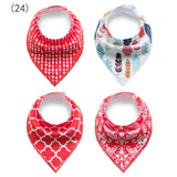 4PC Set Cotton Designer Print Dribble Bandana Bibs (3 Print Sets)