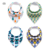 4PC Set Cotton Designer Print Dribble Bandana Bibs (5 Print Sets)