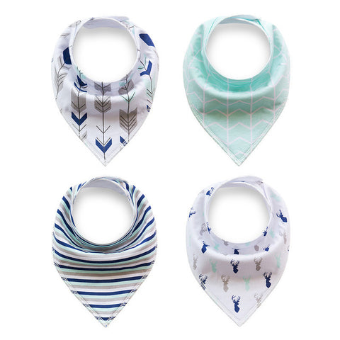 4PC Set Cotton Designer Print Dribble Bandana Bibs (8 Print Sets)