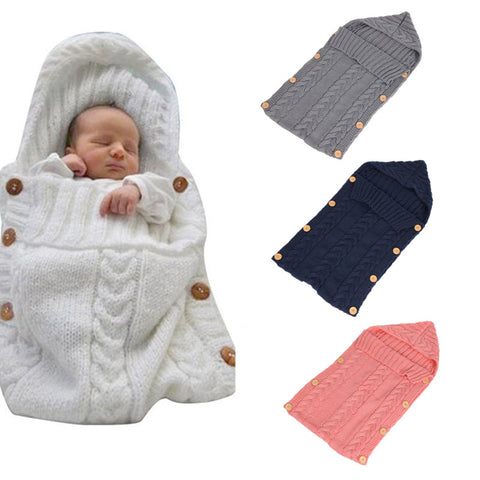 Baby Wool Swaddle Wrap - Warm Crochet Knitted Newborn Sleeping Bag