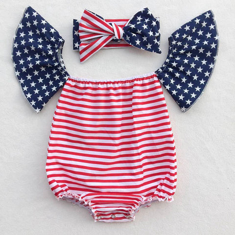 4th Of July Baby Girl Romper - Off The Shoulder Playsuit with a Matching Headband