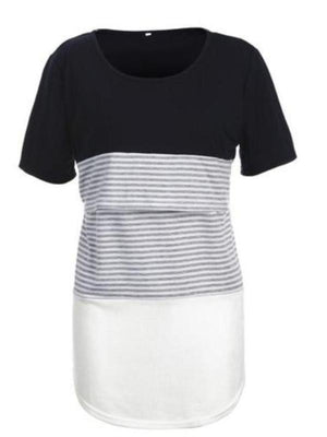 Short Sleeve Nursing Top - Striped Color Block T-Shirt