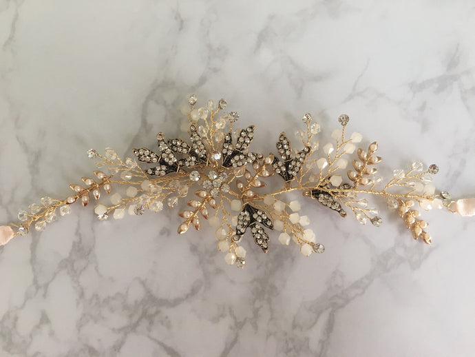 Gold, Diamanté, Beaded Side Headpiece