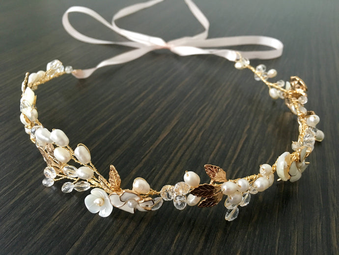 Peal Floral Headpiece with Gold leaves