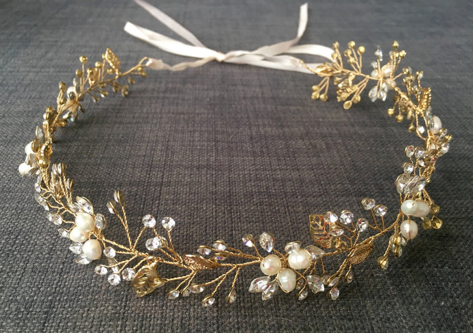 Bridal Headdress with Peals, gold leaves & Diamanté