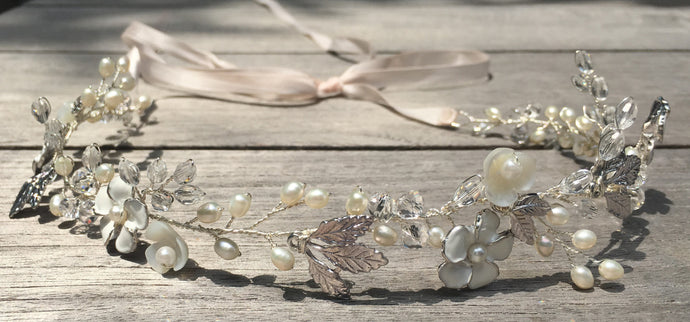 White floral and silver leaf hair wreath