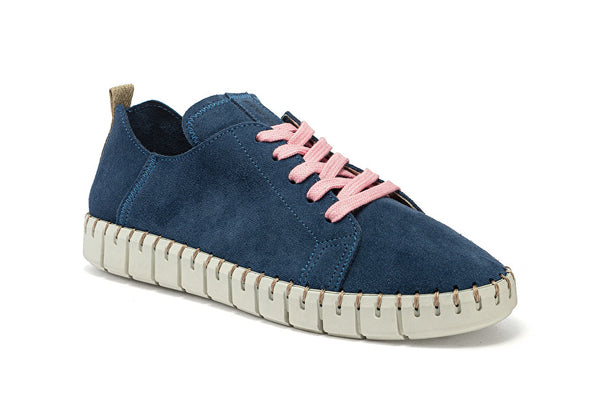 Sneaker Lace Ups flexible Suede Blue - Frau Shoes | IN ITALY