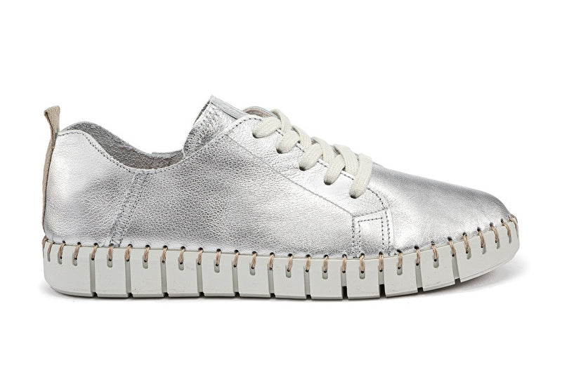 Sneakers Lace Ups Laminated Silver Leather - Frau Shoes | IN ITALY