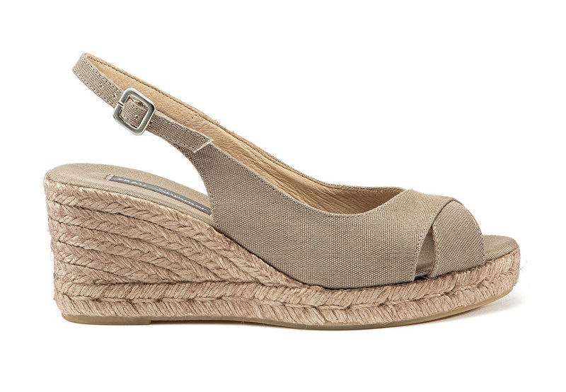 Sandals with Cotton Wedge Sand - Frau Shoes | IN ITALY