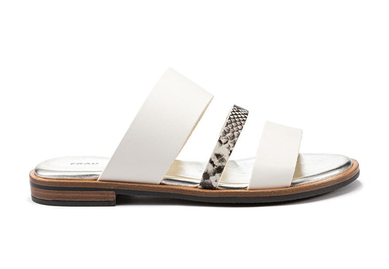 Sandal Multi Band Slip on White - Frau Shoes | IN ITALY