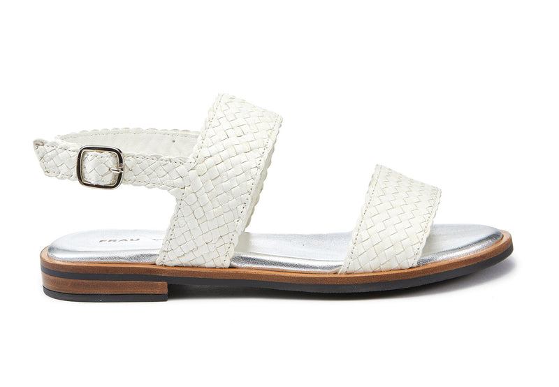 Sandals Woven Leather White - Frau Shoes | IN ITALY