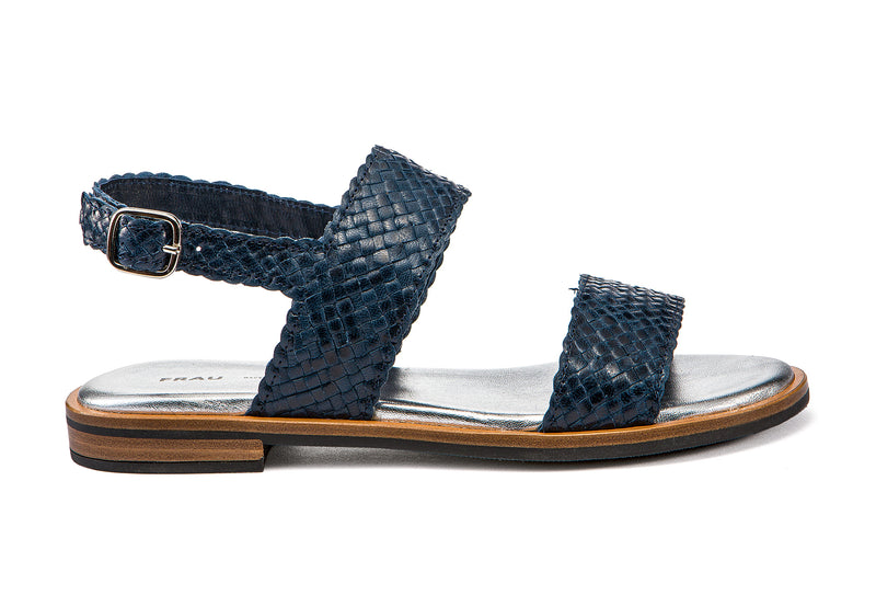 Sandals Woven Leather Blue - Frau Shoes | IN ITALY
