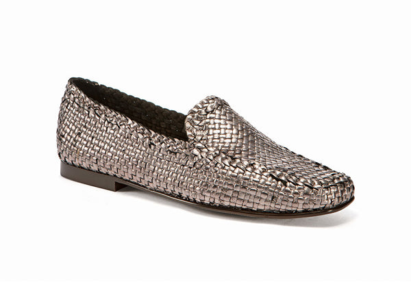 Moccasins Woven Laminated Leather Bronze - Frau Shoes