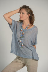 Pure Linen Jersey Sweater Selene - Selene Boutique | IN ITALY