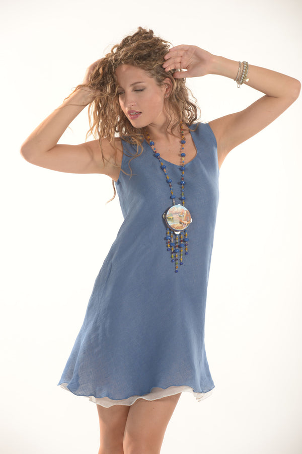 Pure Linen Dress Calliope - Selene Boutique | IN ITALY