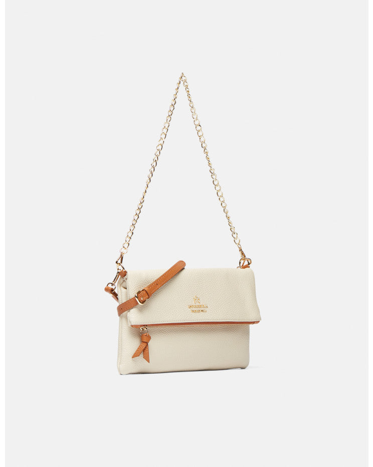 Mimì leather shoulder-cross body bag with two straps Ivory