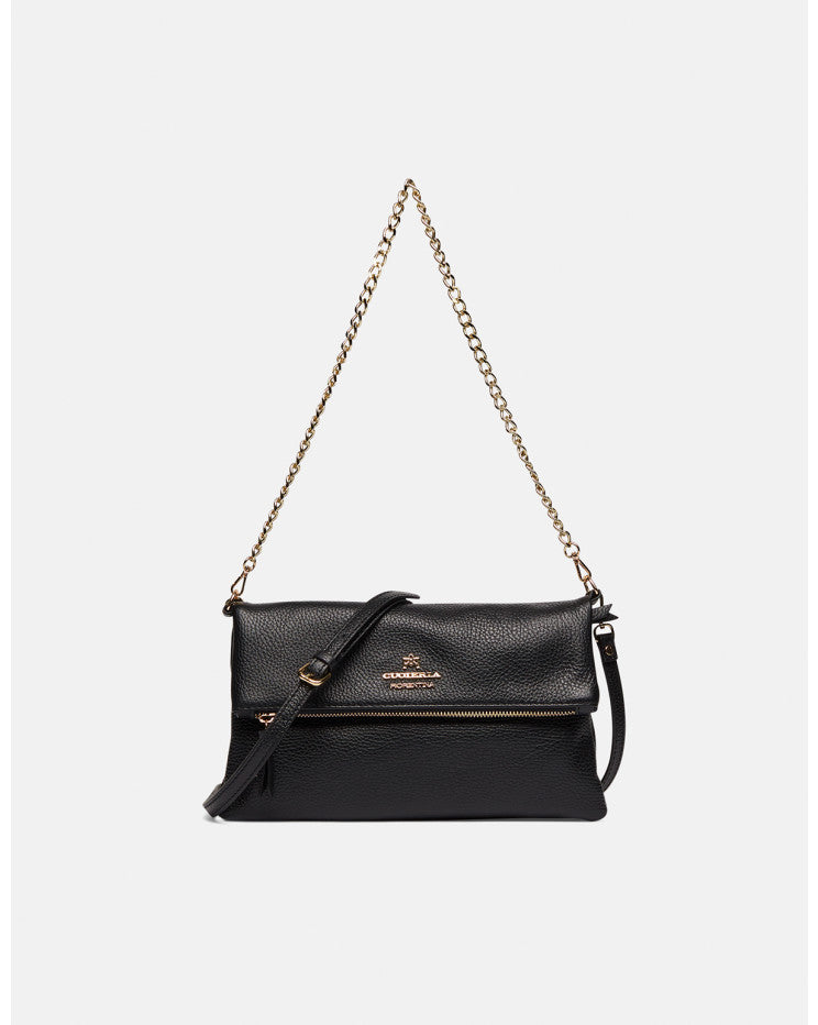 Mimì leather shoulder bag with two straps Black