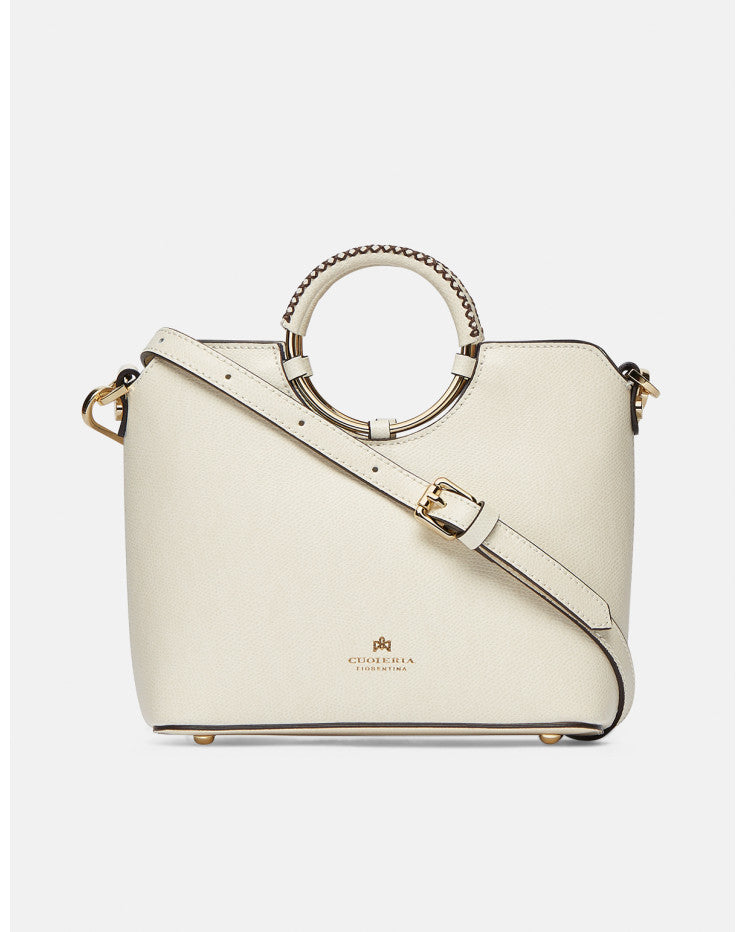 Leather shoulder and cross body Oblò Ivory - Cuoieria Fiorentina | IN ITALY