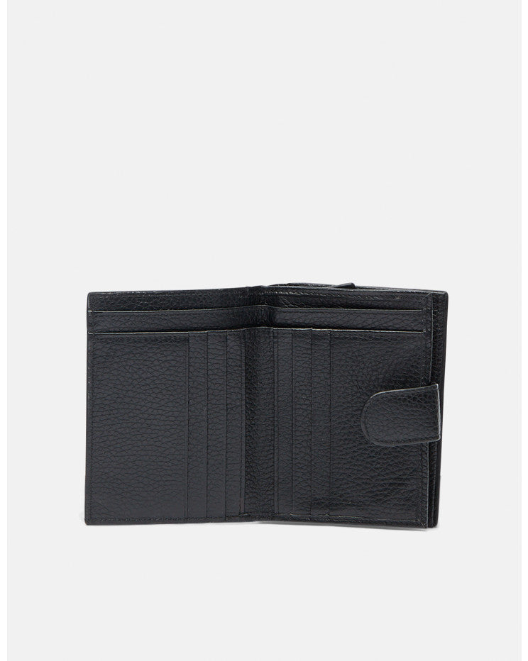 Leather Book Wallet with coin purse black