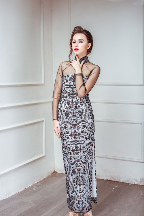 Heavenly Garden BERGAMOT Long Evening Dress