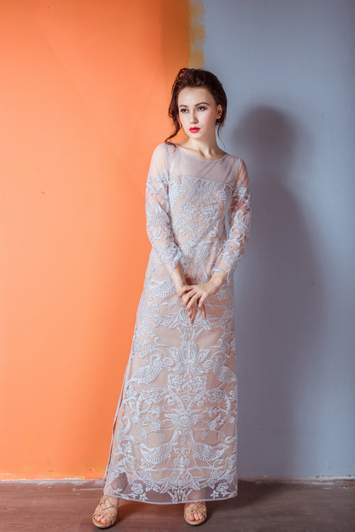 Heavenly Garden MIMOSA Long Sleeves Evening Dress