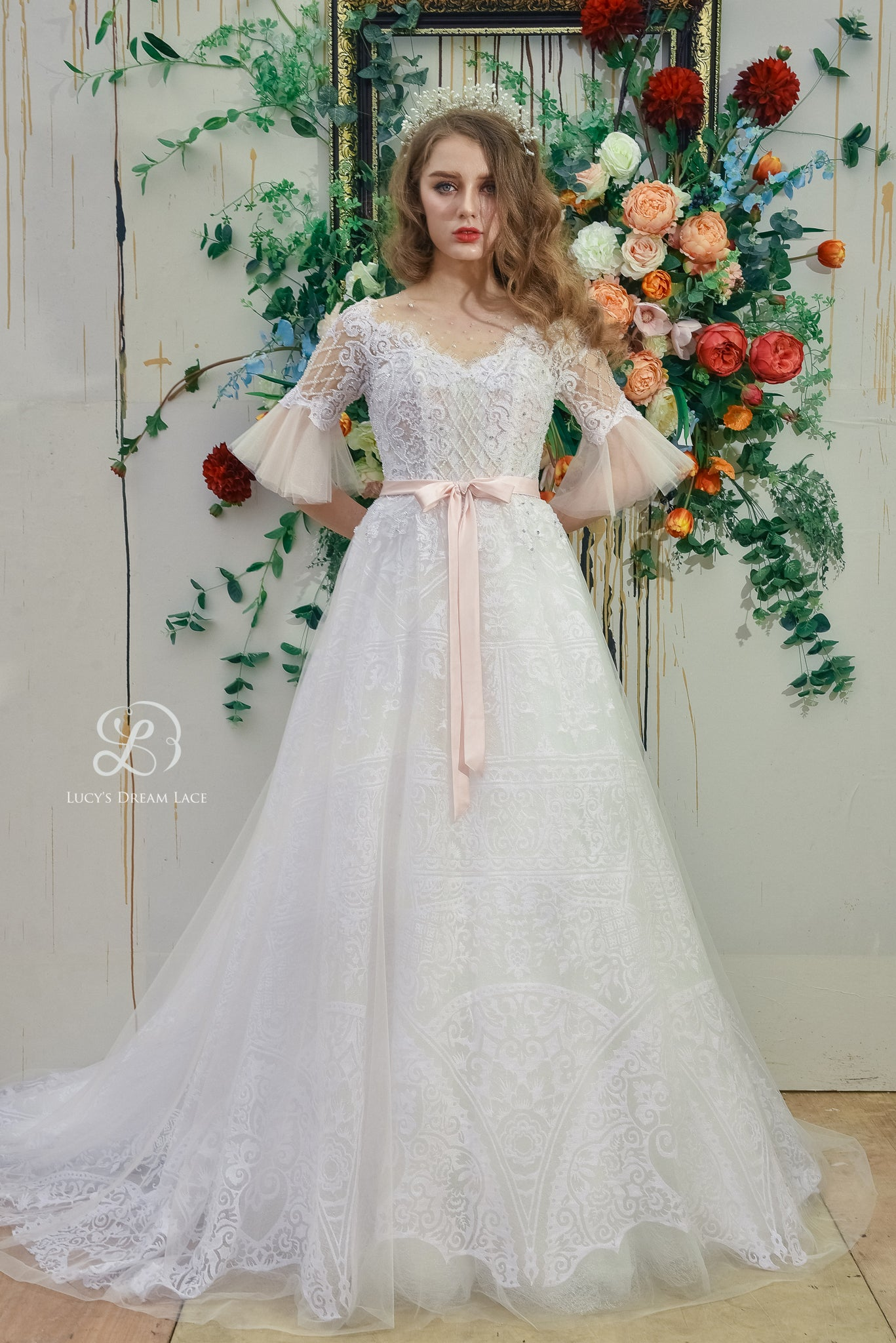 """My Fairy Tale Love Story"" Wedding Dress with Pink Bow"