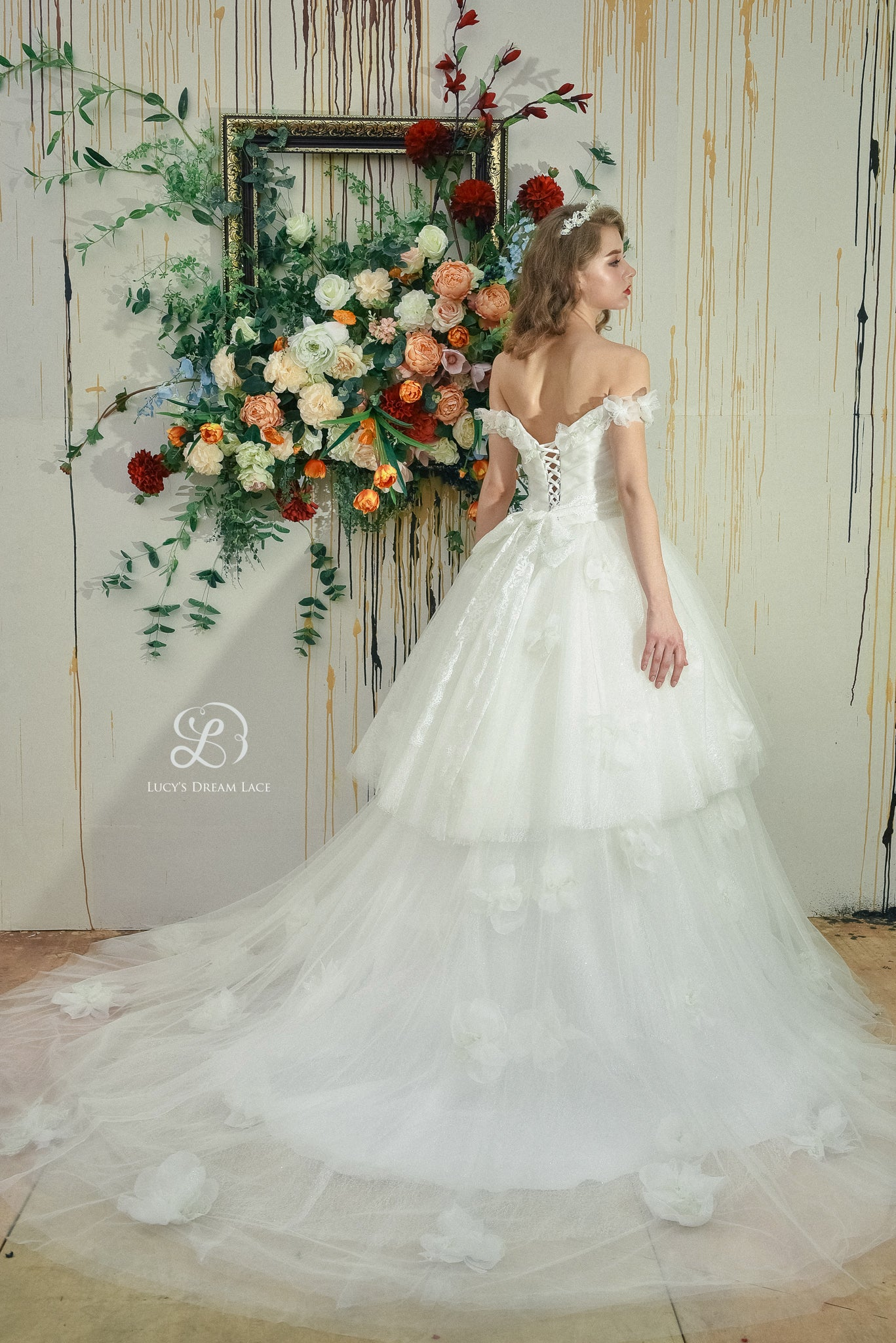 """Like A Fairy"" 2-tiered Wedding Dress with handmade 3D Lace and Voile Flowers"